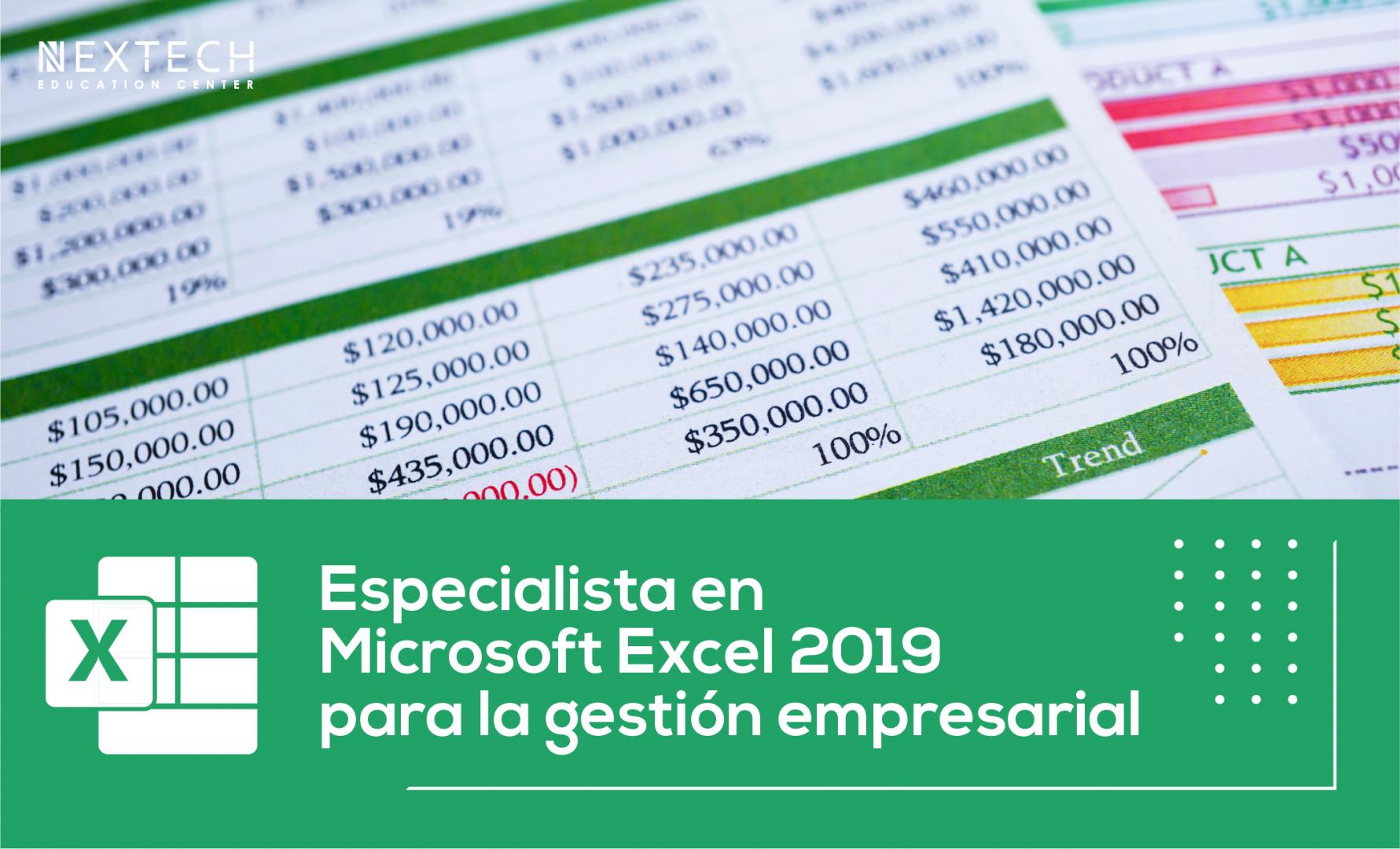 Curso Especialista en Microsoft Excel 2019 para a gestión empresarial